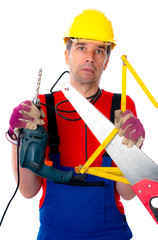 worker with different tools is over-worked