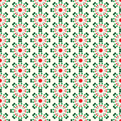 Red and Green Abstract Circle Flower Pattern on Pastel Color