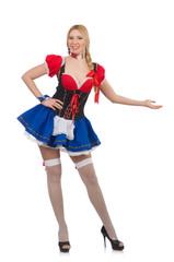 Woman waitress in oktoberfest concept