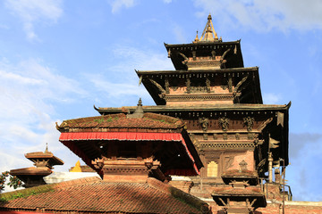 the architecture in kathmandu durbar square in nepal