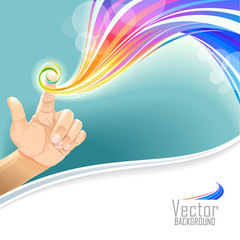 depiction of beautiful colors swirling around a finger