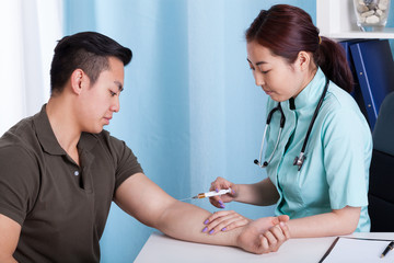 Male patient during injection