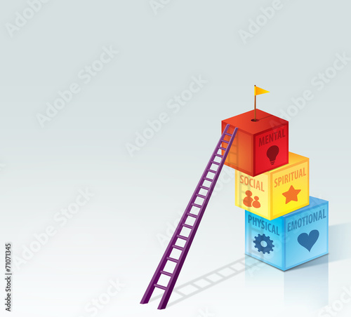 Personal Development Growth Health Concept with Boxes and Ladder