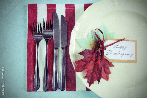 In de dag Buffet, Bar Happy Thanksgiving dining table place setting