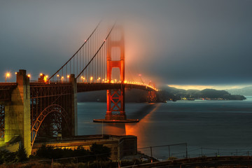 Illumination in fog, Golden Gate bridge,  San Francisco