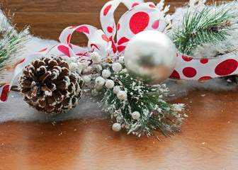 Christmas decoration on wooden background.