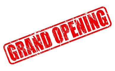 Grand opening red stamp text