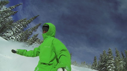 Slow Motion POV Extreme Snowboarding Winter Sport