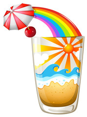 A glass with a summer template