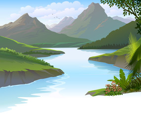 An illustration of a peaceful river