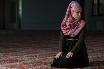 Woman Prayer At Mosque