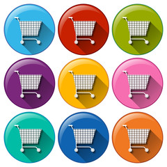 Round buttons with grocery shopping carts