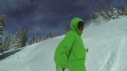 Slow Motion POV Extreme Snowboarding Winter Sport
