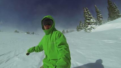POV Man Snowboarding In Winter