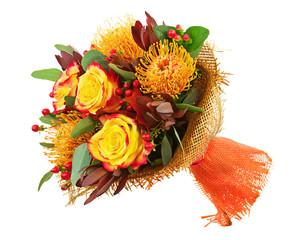 Bouquet from Roses and Arabian Star Flower (Ornithogalum arabicu