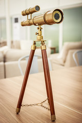 vintage brass telescope