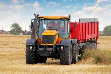 Tractor on wheat field