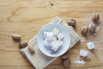 Turkish delight on wooden background