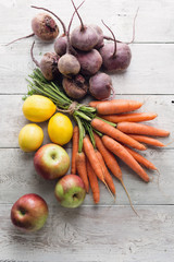 Selection of fresh organic fruits and vegetables