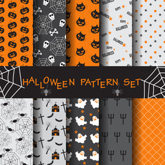 halloween seamless patterns, vector