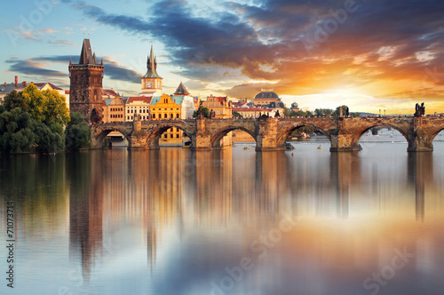 Tuinposter Historisch geb. Prague - Charles bridge, Czech Republic