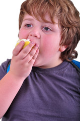 closeup portrait of kid eating an apple