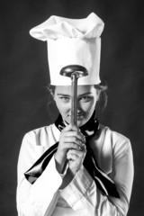 cook hiolding pan