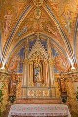 Vienna - Side chapel with neogothic frescos  in Klosterneuburg