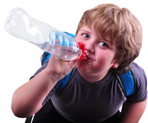 closeup portrait of kid drinking water