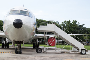 Airplane nose with passenger stairs