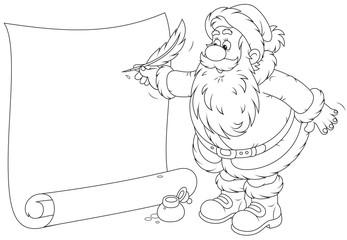 Santa Claus writing a holiay ad