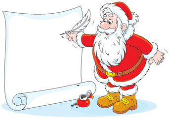 Santa Claus writing a holiay ad