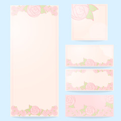 Set of floral wedding cards, invitations