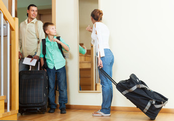 Ordinary family travelers  going on holiday