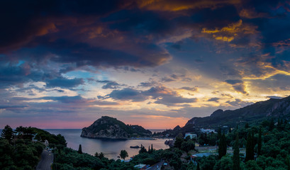 The Paleokastritsa bay at sunset, Corfu