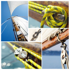 Collage of old sailing boat equipment - vintage wooden mast,sail