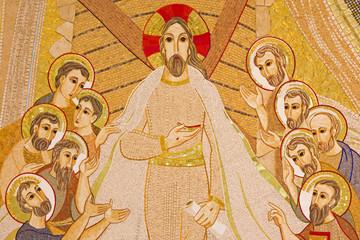 Bratislava - The mosaic of resurrected Christ among the apostles
