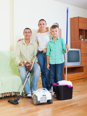 Family of three finished cleaning