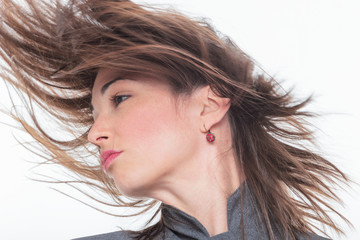 Woman face with hair motion