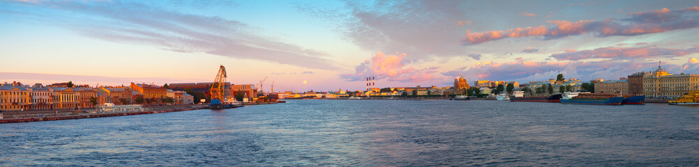 Panoramic view of Neva river in morning
