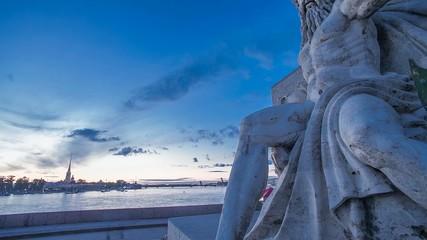 Rostral column. Saint Petersburg. Sunset Time Lapse
