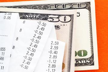Bills over dollar banknotes