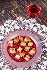 Fried pork with cranberry sauce