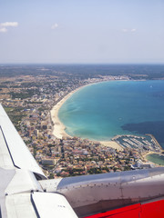 Aerial view of Majorca beach