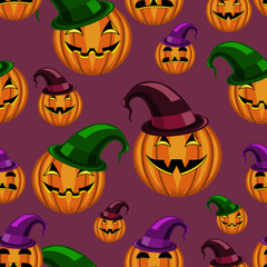 seamless pattern halloween pumpkin with hat