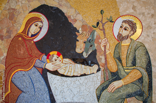 Foto op Canvas Centraal Europa Bratislava - The mosaic of Nativity in st. Sebastian cathedral
