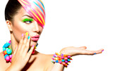 Beauty Woman Portrait with Colorful Makeup, Hair and Accessories - 71078794