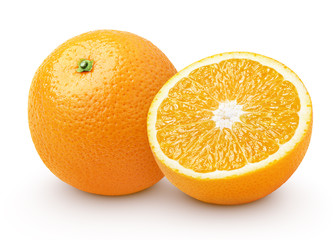 Orange citrus fruit with half isolated on white