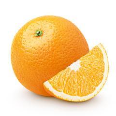 Orange citrus fruit with slice isolated on white
