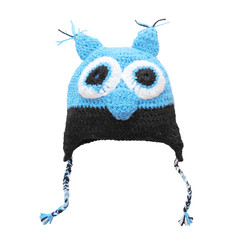 Owl woolen cap for child isolated on white.